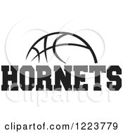 Clipart Of A Black And White Basketball With HORNETS Text Royalty Free Vector Illustration