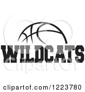 Clipart Of A Black And White Basketball With WILDCATS Text Royalty Free Vector Illustration