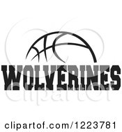 Clipart Of A Black And White Basketball With WOLVERINES Text Royalty Free Vector Illustration
