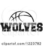 Clipart Of A Black And White Basketball With WOLVES Text Royalty Free Vector Illustration