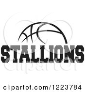Clipart Of A Black And White Basketball With STALLIONS Text Royalty Free Vector Illustration