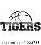 Clipart Of A Black And White Basketball With TIGERS Text Royalty Free Vector Illustration