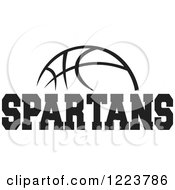 Clipart Of A Black And White Basketball With SPARTANS Text Royalty Free Vector Illustration
