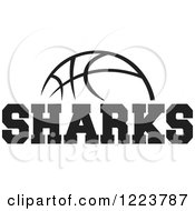 Clipart Of A Black And White Basketball With SHARKS Text Royalty Free Vector Illustration