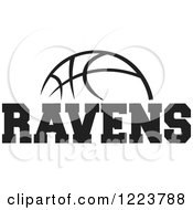Clipart Of A Black And White Basketball With RAVENS Text Royalty Free Vector Illustration