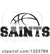 Clipart Of A Black And White Basketball With SAINTS Text Royalty Free Vector Illustration