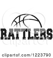 Clipart Of A Black And White Basketball With RATTLERS Text Royalty Free Vector Illustration
