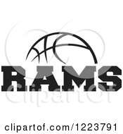 Clipart Of A Black And White Basketball With RAMS Text Royalty Free Vector Illustration