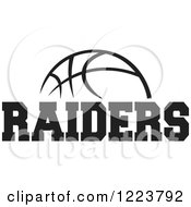 Clipart Of A Black And White Basketball With RAIDERS Text Royalty Free Vector Illustration