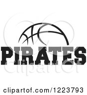 Clipart Of A Black And White Basketball With PIRATES Text Royalty Free Vector Illustration