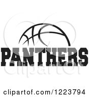 Clipart Of A Black And White Basketball With PANTHERS Text Royalty Free Vector Illustration