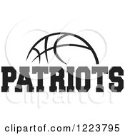 Clipart Of A Black And White Basketball With PATRIOTS Text Royalty Free Vector Illustration
