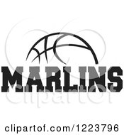 Clipart Of A Black And White Basketball With MARLINS Text Royalty Free Vector Illustration