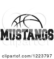 Clipart Of A Black And White Basketball With MUSTANGS Text Royalty Free Vector Illustration