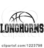 Clipart Of A Black And White Basketball With LONGHORNS Text Royalty Free Vector Illustration