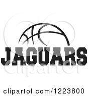 Clipart Of A Black And White Basketball With JAGUARS Text Royalty Free Vector Illustration