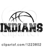 Clipart Of A Black And White Basketball With INDIANS Text Royalty Free Vector Illustration