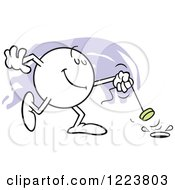 Clipart Of A Moodie Character Happily Pulling The Plug Royalty Free Vector Illustration
