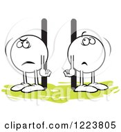 Clipart Of Moodie Characters Standing Poles Apart Royalty Free Vector Illustration