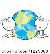 Clipart Of Moodie Characters Standing A World Apart By Earth Royalty Free Vector Illustration by Johnny Sajem