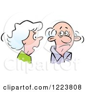 Clipart Of A Senior Woman Nagging Her Husband Royalty Free Vector Illustration
