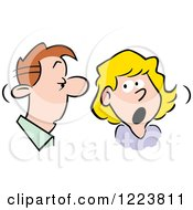 Clipart Of A Man And Woman Talking Over Shocking Gossip Royalty Free Vector Illustration by Johnny Sajem