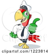 Clipart Of A Captain Parrot Holding A Thumb Up Royalty Free Vector Illustration by Holger Bogen