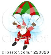 Skydiving Santa Descending With A Parachute