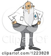 Clipart Of A Stern Senior Man With A Beard Standing With His Hands On His Hips Royalty Free Vector Illustration by djart