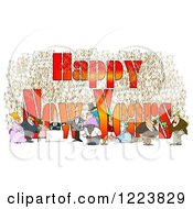 Clipart Of People Having Fun At A Party With Happy New Years Text Royalty Free Illustration by Dennis Cox
