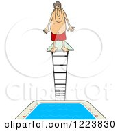 Clipart Of A Man Standing At The Top Of A High Dive Diving Board Royalty Free Vector Illustration