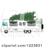 Clipart Of A Man Driving A Class A Motorhome With A Christmas Tree On Top Royalty Free Illustration by Dennis Cox