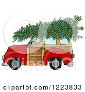 Man Driving A Red Woody Car With A Christmas Tree On The Roof