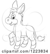 Clipart Of An Outlined Cute Baby Donkey Royalty Free Vector Illustration by Alex Bannykh