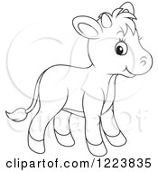 Clipart Of An Outlined Cute Baby Calf Cow Royalty Free Vector Illustration