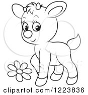 Clipart Of An Outlined Cute Baby Goat With A Flower Royalty Free Vector Illustration by Alex Bannykh