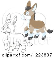 Clipart Of Outlined And Colored Cute Baby Donkeys Royalty Free Vector Illustration by Alex Bannykh