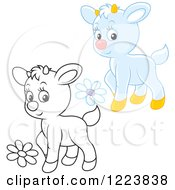 Clipart Of Outlined And Colored Cute Baby Goats With Flowers Royalty Free Vector Illustration