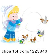 Clipart Of A Happy Boy Feeding Birds In The Winter Royalty Free Vector Illustration