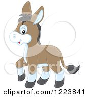 Clipart Of A Cute Baby Donkey Royalty Free Vector Illustration