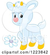 Clipart Of A Cute White Baby Goat With A Flower Royalty Free Vector Illustration