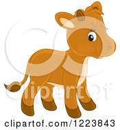 Clipart Of A Cute Baby Calf Cow Royalty Free Vector Illustration by Alex Bannykh