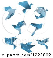 Clipart Of Blue Flying Origami Doves Royalty Free Vector Illustration by Vector Tradition SM
