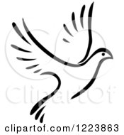 Clipart Of A Black And White Flying Dove 5 Royalty Free Vector Illustration
