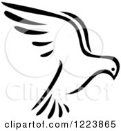 Clipart Of A Black And White Flying Dove 4 Royalty Free Vector Illustration