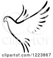 Clipart Of A Black And White Flying Dove Royalty Free Vector Illustration