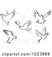 Clipart Of Black And White Flying Doves Royalty Free Vector Illustration
