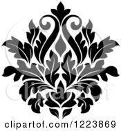 Clipart Of A Black And White Floral Damask Design 20 Royalty Free Vector Illustration