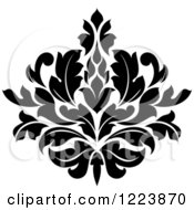 Clipart Of A Black And White Floral Damask Design 19 Royalty Free Vector Illustration