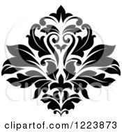 Clipart Of A Black And White Floral Damask Design 22 Royalty Free Vector Illustration